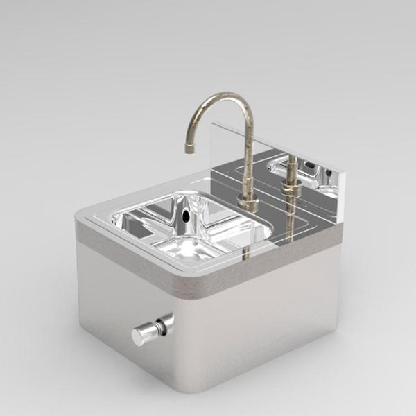 Desenvolvido para ser instalado em pias de assepsia, normalmente em pias de inox. Não há necessidade de energia elétrica para o funcionamento e sua instalação é simples. Acionamento macio e estanca a água imediatamente quando não acionado.