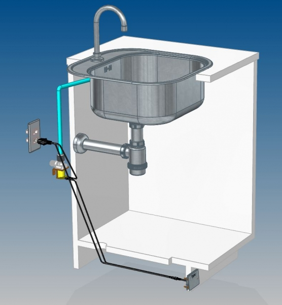 Pedal acionador elétrico para rodapéde gabinete (em inox escovado).